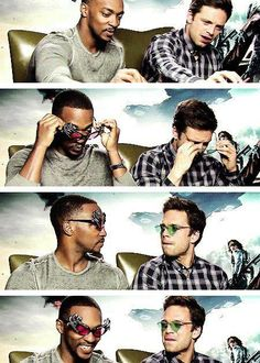 """Anthony Mackie and Sebastian Stan, aka my two favorite people. /// """"The Stoned Soldier"""" xD Marvel Actors, Marvel Memes, Marvel Characters, Marvel Avengers, Marvel Comics, Sebastian Stan, Anthony Mackie, Bucky Barnes, Winter Soldier"""