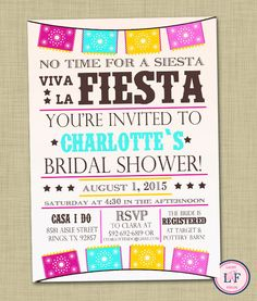 Mexican Bridal Shower Invitations | Fiesta Bridal Shower ...