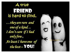 A True Friend is hard to find...they are rare and one of a kind... I don't care if I had only few..
