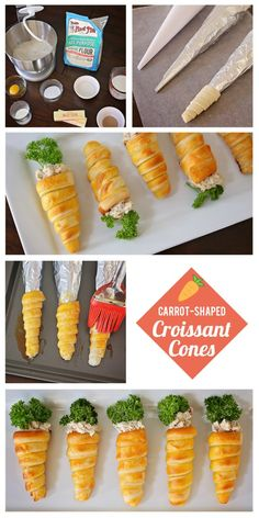 Carrot-Shaped Croissant Cones with Chicken Salad | Easter Appetizer