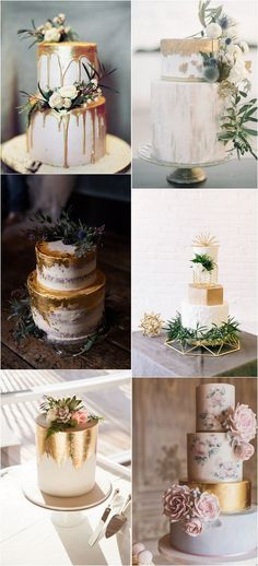 metallic wedding cakes #wedding #weddingideas