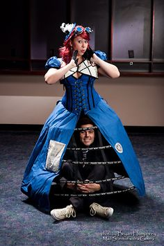 TARDIS dress, complete with Doctor! Omg! Halloween next year for Damon and I...I could definitely sew this!