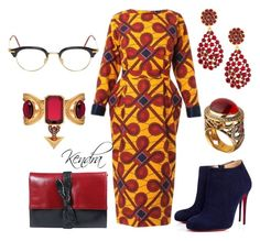 """""""Boss Attire"""" by k1974johnson1117 ❤ liked on Polyvore featuring Stella Jean, Christian Louboutin, La Bagagerie, Thom Browne, Alexander McQueen, Oscar de la Renta and Queensbee"""