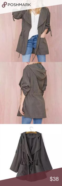 NWT Dark Khaki Jacket all sizes This is an amazing dark Khaki Jacket.  It has a soft suede like feel, drawstring waist and looks exactly as pictured.  Also has a hood.  All sizes available. NWT Spa La La Boutique Jackets & Coats Utility Jackets