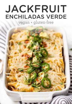 4 Points About Vintage And Standard Elizabethan Cooking Recipes! These Healthy Vegan Jackfruit Enchiladas Are Gluten-Free And Topped With A Homemade Enchiladas Verde Sauce. This Vegetarian Recipe Is Easy To Make, And You'll Love The Layer Of Cheese On Top Vegan Enchiladas, Jackfruit Enchiladas, Enchiladas Verdes Recipe, Homemade Enchiladas, Vegan Mexican Recipes, Vegan Dinner Recipes, Whole Food Recipes, Healthy Recipes, Vegan Recipes With Jackfruit