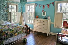 """""""Kiddo's Room""""- Robins egg blue paint, strands of paper cranes and quilted bedding   #kidsroom #bedroom #design #ideas"""