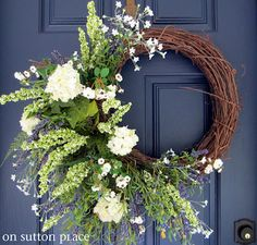 DIY Spring Wreath- would have been prettier on oblong grapevine wreath