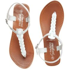 White Plaited Leather Sandals