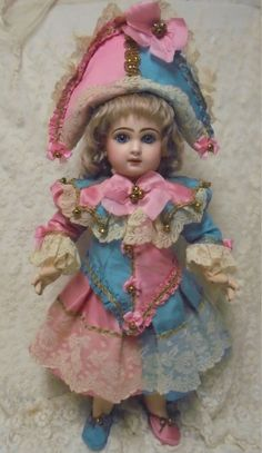 Antique Doll Party Polichinelle Jester Dress by WhatWasNowIsAgain