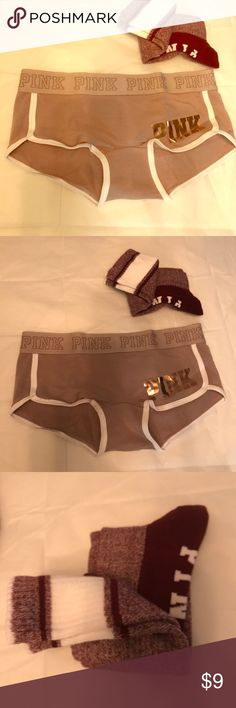 VS pink boy beige boy shorts/ socks Juts extra on my closet never worn. Boy shorts size small and socks OS both NEW, both bought online no tags but never worn! Thank you for stopping by my page PINK Victoria's Secret Intimates & Sleepwear Panties