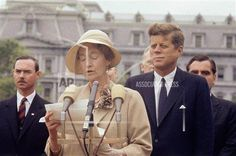 President John F. Kennedy listens while Grand Duchess Charlotte of Luxembourg speaks at the White House, April 30, 1963. (AP Photo/William J. Smith)