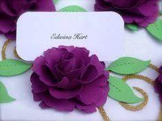 Il fiore di carta Lady Flora Handmade - ordine di carta posto titolari - set di 50 fiori con foglie - Custom disponibili