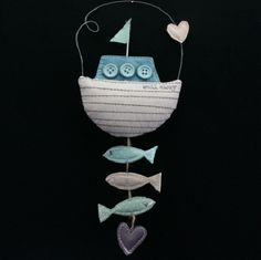 GISELA GRAHAM FABRIC BOAT HANGING DECORATION NAUTICAL SEASIDE RETRO HOME GIFT | eBay
