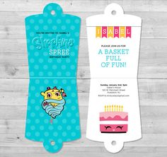 Shopkins Party Invitation and Thank You Card   Shopkins Party Printable   Digital File   Shopkins Birthday Party Invitation   Shopkins Party