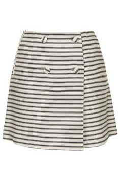 TALL Striped Button Wrap Skirt