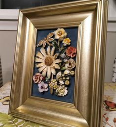 Realistic Framed Bouquet Made Of Antique Vintage Brooches Earrings 5x7 Jewelry Art Decorative Arts