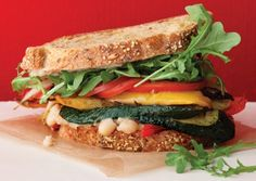 Roasted Vegetable Sandwiches with Zesty White Bean Spread | Vegetarian Times