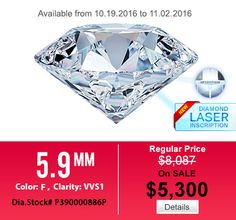 Round, F color, VVS1 clarity and Excellent cut diamond