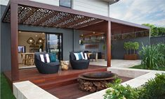 27 Gorgeous Patio Deck Design Ideas To Inspire You - Possible Decor Outdoor Pergola, Outdoor Fire, Outdoor Areas, Outdoor Rooms, Backyard Patio, Backyard Landscaping, Outdoor Living, Fire Pit Backyard, Pergola Kits