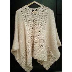 Poncho tejido en dos agujas y crochet Crochet Wrap Pattern, Crochet Poncho Patterns, Kimono Pattern, Crochet Cardigan, Crochet Scarves, Crochet Shawl, Knit Crochet, Crochet Mobile, Crochet Hook Sizes