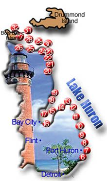 Lake Huron trip - Lighthouses map. Must check this out. So many  lighthouses on a lake?