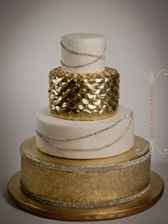 Mixed textures and metals. #Wedding #Cake by Sugar Couture in NYC