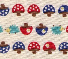 hedgehogs mushroom - japanese fabric