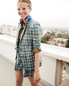 The J.Crew women's Rhodes blazer in vintage plaid. All our prints have one thing in common: You won't find them anywhere else. Our designer found a vintage swatch of this madras-inspired plaid and tweaked the colors to make them just right for spring. We suggest wearing it head to toe—or, um, shoulder to leg.
