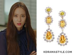 Moo Ra (Krystal 크리스탈) wears large drop earrings with 3 yellow stones in Episode 14 of Bride of the Water God. They are the Jewel County Yellow Triple Drop Earrings. Get them HERE for Available from: Jewel County – See more of Krystal's outfits. Stone Earrings, Drop Earrings, Bride Of The Water God, Krystal Jung, Korea, Characters, Kpop, Jewels, Yellow