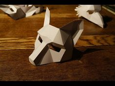 DIY Low Poly Animal Masks for Halloween by Wintercroft Fox Mask, Skull Mask, Origami, Wolf Maske, Make Your Own, Make It Yourself, How To Make, Cardboard Mask, Diy Cardboard