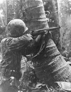 US Marine with M1 Garand rifle on Bougainville Solomon Islands 1943-1945.