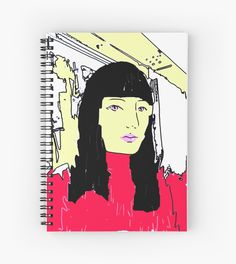 """This is a mixed media work I made from a photograph. I made several versions of it, this is the one I like the most. It shows a black haired girl on an abstract background in yellow and red. I named her """"Blind Tangerine"""""""