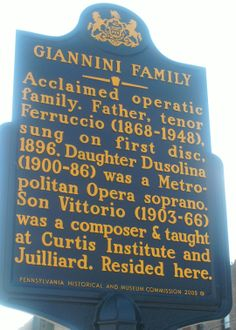 Giannini Family.  This marker is located at 735 Christian Street in South Philadelphia.
