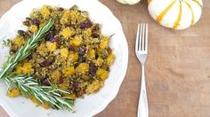 Quinoa with butternut squash, Brussels sprouts and pistachios | www.veggiesdontbite.com | #vegan #plantbased #glutenfree via @veggiesdontbite