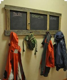 Pallet Coat #Rack with Chalkboard - 125 Awesome DIY Pallet Furniture Ideas | 101 Pallet Ideas - Part 10