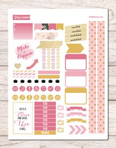 "Blush & Gold Printable Sticker Set  Includes:  - Daily Tracker  - 4 mini chunky page flags - 4 cancelled/rescheduled labels - 2 long ""washi"" strips - 2 ""washi"" patterned strips - 2 chevron boxes - 24 heart check boxes - 2 word quote/word art boxes - 3 striped narrow boxes - 2 label boxes - 3 large label boxes - 7 meal plan (cooking pot) stickers - 14 icons in solid color background - 7 To To headers - 1 This Week header - 3 ribbons - 4 TV icons...."