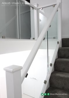 The contract of the dark carpet on this pristine white staircase is amazing