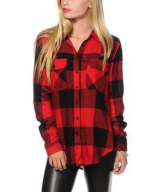 Thread & Supply Oversized Red Plaid Shirt Item # 236421 Buffalo Laine