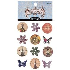 """Give your crafts a vintage feel with Vintage Floral Wooden Buttons. These adorable buttons feature circular and flower shapes with Paris-inspired imagery, including the Eiffel Tower and feminine floral prints. Sew them onto your handmade quilts or use them as buttons for jackets!        Dimensions:      Length: 7/8""""    Width: 3/4"""" - 7/8""""          Package contains 12 buttons."""