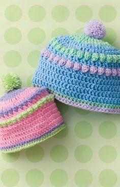 Baby Bobbles Hat Free Crochet Pattern from Red Heart Yarn