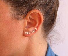 Ear climber Sterling silver ear cuff swirl by anatajewelry on Etsy