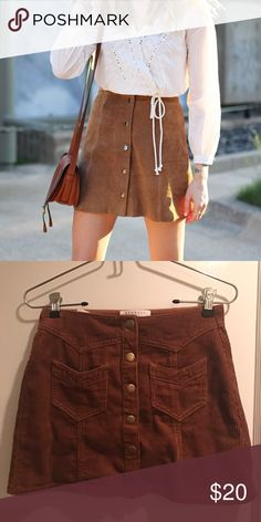 Brown corduroy Kendall+Kylie mini skirt Size 24. Kendall+Kylie. Snap front closure. Brown corduroy. Would look cute with a vintage tee and boots. Never worn. Kendall & Kylie Skirts Mini