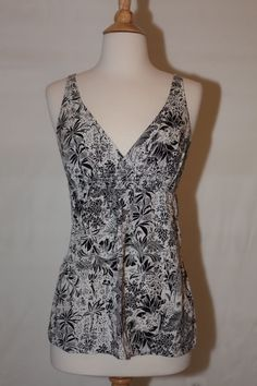 TOMMY BAHAMA RELAX SZ S 2 -4 STRETCH V NECK DRESS TOP SHIRT BLOUSE SLEEVELESS #TommyBahama #Blouse #Casual