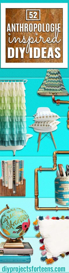 Anthropologie DIY Hacks, Clothes, Sewing Projects and Jewelry Fashion - Pillows, Bedding and Curtains - Tables and furniture - Mugs and Kitchen Decorations - DIY Room Decor and Cool Ideas for the Home | DIY Projects and Crafts for Teens  via @diyprojectteens Cool Diy Projects, Diy Projects For Teens, Diy For Teens, Crafts For Teens, Craft Projects, Sewing Projects, Sewing Crafts, Sewing Diy, Diy Hacks