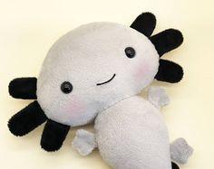 Grey axolotl plush toy - Stuffed toy axolotl - axolotl softie - Plush salamander - Mexican salamander axolotl plushie - kawaii axolotl