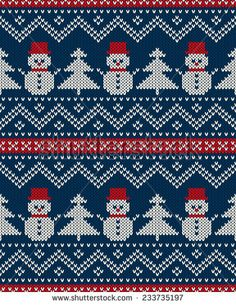 Winter Holiday Seamless Knitted Pattern With Snowman And Christmas. - Winter Holiday Seamless Knitted Pattern With Snowman And Christmas. Fair Isle Chart, Fair Isle Pattern, Christmas Border, Christmas Cross, Christmas Tree, Knitted Christmas Stockings, Christmas Knitting, Cross Stitch Patterns, Knitting Patterns
