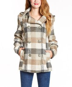 Loving this INTL d.e.t.a.i.l.s. Beige & Gray Plaid Hooded Peacoat on #zulily! #zulilyfinds
