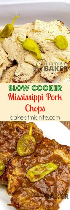 Slow Cooker Mississippi Pork Chops ~ if you love the famous Mississippi pot roast, you'll love these easy pork chops made with similar ingredients! Crockpot Dishes, Crock Pot Slow Cooker, Pork Dishes, Crock Pot Cooking, Slow Cooker Recipes, Crockpot Recipes, Cooking Recipes, Cooking Beef, Ninja Recipes