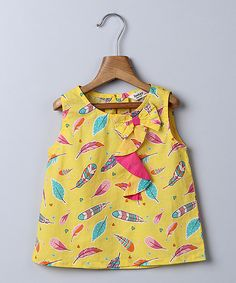 Yellow Feather Bow Ruffle Tank - Infant Toddler & Girls