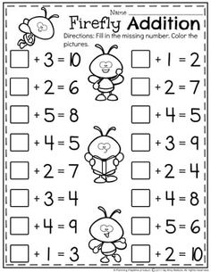 Cute Firefly Addition Worksheets for Kindergarten - Fill in the missing Addend. II